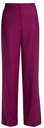 Osman Polly High Rise Wool Trousers - Womens - Dark Pink