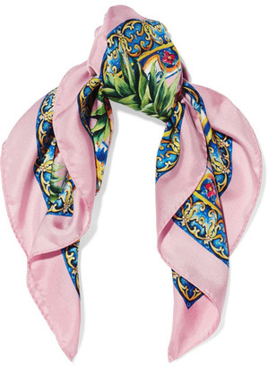 Dolce & Gabbana - Printed Silk-twill Scarf - Pink $235 thestylecure.com
