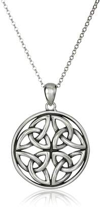 """Celtic Amazon Collection 18k Gold Plated Sterling Silver Triquetra Trinity Knot Medallion Pendant Necklace, 18"""""""