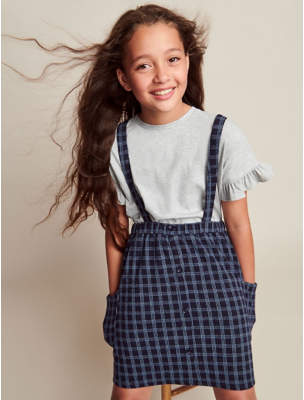 George Grey Frill T-Shirt and Blue Check Pinafore Outfit