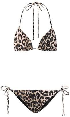 Ganni Leopard print bikini