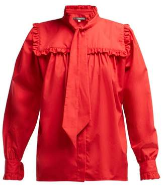 ALEXACHUNG Frill Trimmed Pussy Bow Cotton Blouse - Womens - Red