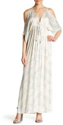 Love Stitch Cut Out Shoulder Print Maxi Dress