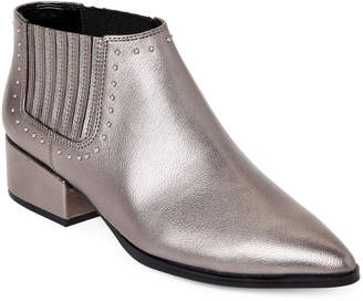 Marc Fisher Pewter Idalee Studded Metallic Chelsea Boots