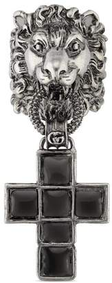 Gucci Lion head ring with cross pendant