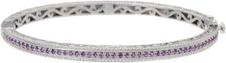 Delatori DeLatori Sterling Silver Pave Gemstone Hinged Bangle Bracelet