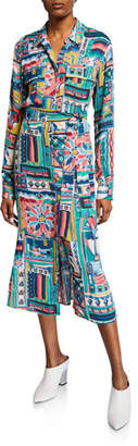 Lafayette 148 New York Doha Palazzo Patchwork-Printed Long-Sleeve Crepe Shirtdress