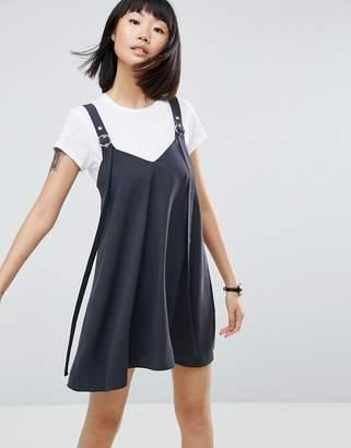 Asos Buckle Detail Dungaree Mini Slip Dress