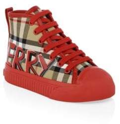 Burberry Kid's Kingly Checker High-Top Sneakers