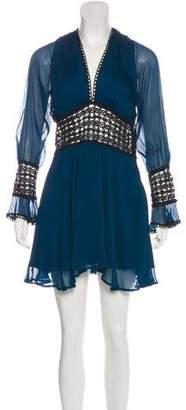 For Love & Lemons Eyelet-Accented Mini Dress