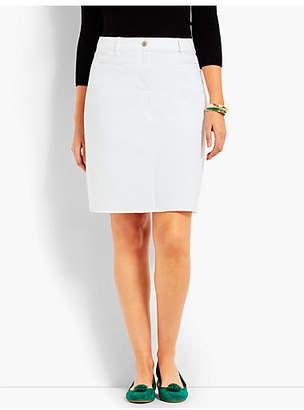 Talbots Frayed-Hem Denim Skirt-White