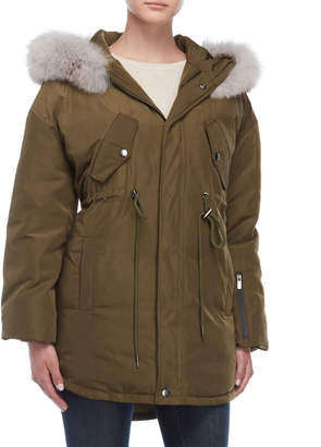 Annabelle Real Fur Trim Hooded Down Puffer Parka