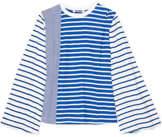Sjyp Striped Cotton-jersey Top - Blue