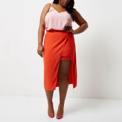River IslandRiver Island Womens Plus red wrap midi skirt