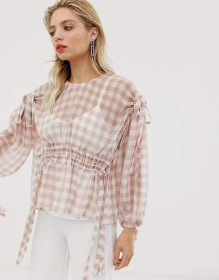 Asos gingham ruched waist top