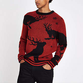 River Island Red reindeer boucle Christmas sweater