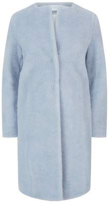 Harris Wharf London Collarless Faux Fur Coat