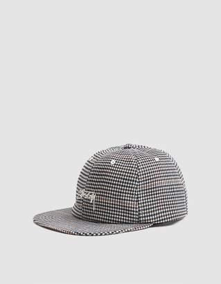 Stussy Small Check Strapback Cap in White