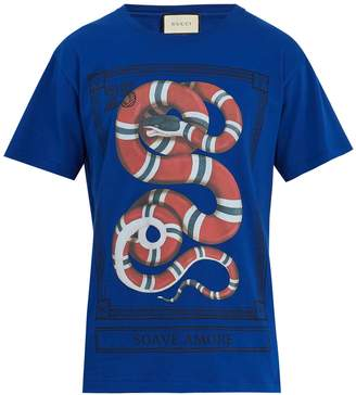 Gucci Snake-print cotton-jersey T-shirt