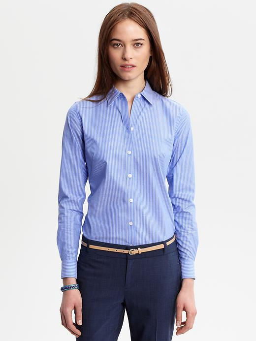 Fitted non-iron Liza striped shirt