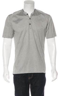 Lanvin Grosgrain-Trimmed Striped Polo Shirt