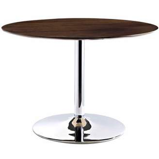 Modway Rostrum Round Dining Table with Pedestal Base in Walnut