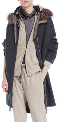Brunello Cucinelli Double-Face Cashmere Long Zip-Front Coat w/ Fox Fur Trim