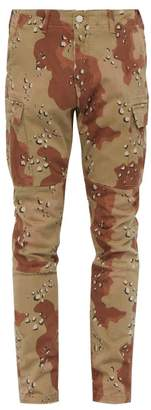 Amiri Camouflage Cotton Blend Cargo Trousers - Mens - Camouflage