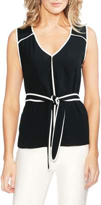 Vince Camuto Contrast Piping Sleeveless Top