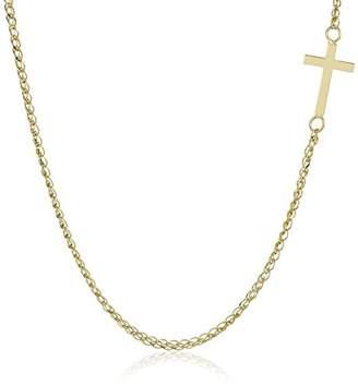 14k Italian Sideways Cross Necklace