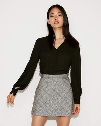 Express High Waisted Plaid Clean A-Line Mini Skirt