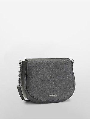Calvin KleinCalvin Klein Womens Saffiano Saddle Bag Black/Silver