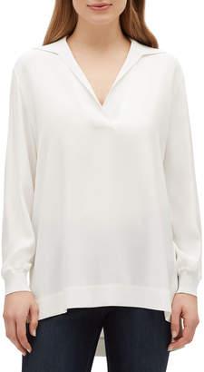 Lafayette 148 New York Boyd V-Neck Long Sleeve Matte Silk Blouse