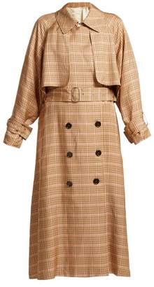 Golden Goose Vela Checked Double Breasted Trench Coat - Womens - Orange Multi