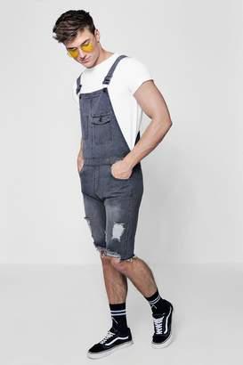 boohoo Slim Fit Destroyed Denim Dungaree Shorts