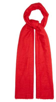 Allude Fine Knit Fringed Cashmere Scarf - Womens - Red