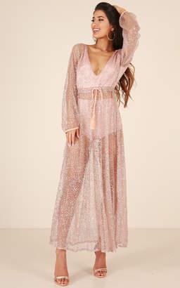 Showpo Made Of Stars maxi dress in rose gold