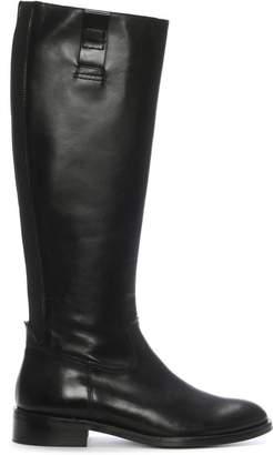 Daniel Pintano Black Leather Elasticated Knee Boots