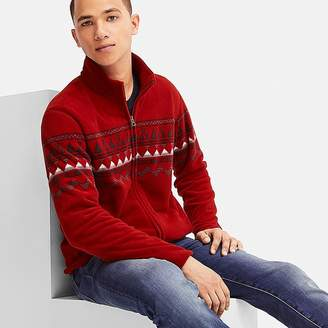 Uniqlo Men's Printed Fleece Long-sleeve Full-zip Jacket