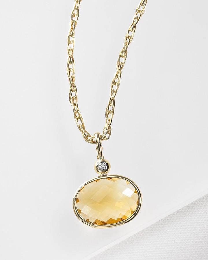 Honey Quartz and Diamond Pendant in 14 Kt. Yellow Gold
