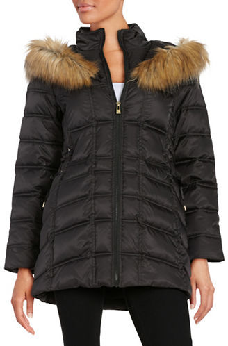 Betsey JohnsonBetsey Johnson Faux Fur-Trimmed Hooded Mid Length Puffer Coat