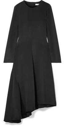Tibi Tie-back Asymmetric Silk Midi Dress - Black