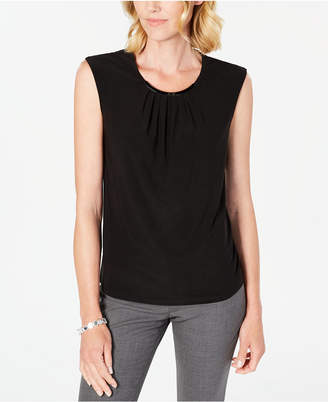 Kasper Gathered-Neck Sleeveless Top