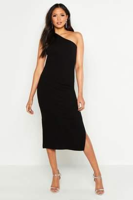 boohoo Tall One Shoulder Split Detail Midi Dress