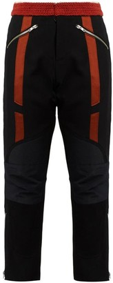 Wales Bonner Georges Crochet Waist Cropped Wool Biker Trousers - Womens - Black Red