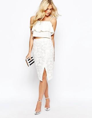 Oasis Lace Wrap Pencil Skirt $95 thestylecure.com