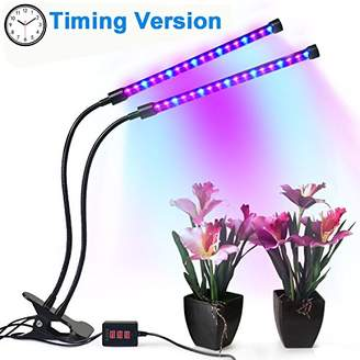 Tankuy Dual Lamp Grow Light Profession Plant Lamp Lights 36LED 4 Levels Timing(3H/6H/12H) with 360 Degree Flexible Gooseneck for Indoor Plants Small Growing Tent Home Hydroponic Garden Greenhouse