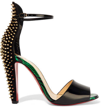 Christian Louboutin - Tropanita 100 Spiked Patent-leather Sandals - Black