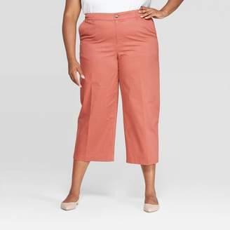 Ava & Viv Women's Plus Size Cropped Wide Leg Chino Pants - Ava & VivTM