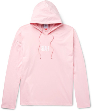 Vetements Staff Printed Cotton-Jersey Hoodie $620 thestylecure.com